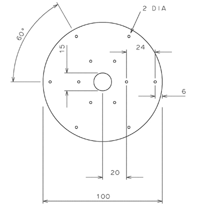 Figure 3   146MHz 1/4w ground plane radial element mounting plate.